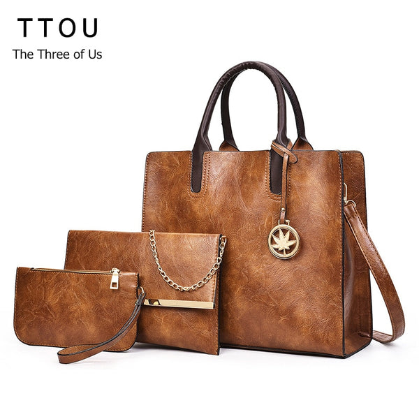 TTOU Vintage PU Leather Bag Women Fashion Shoulder Bag Ladies Large Capacity Crossbody Bag Female 3 Sets Handbag+Small Purse