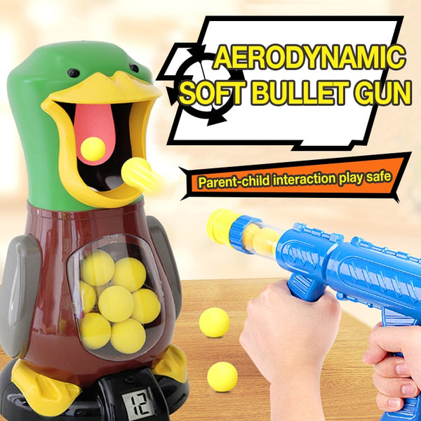 TUKATO Air Powered Safety Soft Bullet Gun Hit Hungry Shooting Duck Electronic GameTarget Bullet Kids Toy