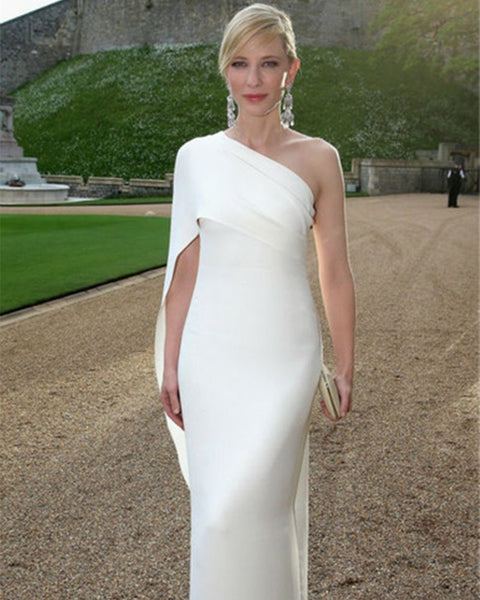 The 67th Cannes Film Festival Red Carpet dress Cate Blanchett One Shoulder Ivory Celebrity Dresses Long pleat Party Dress
