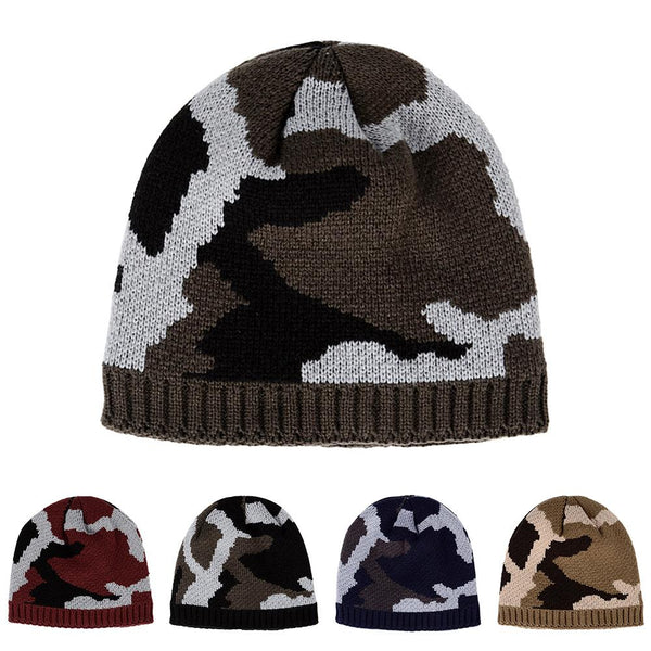 05c68db5578b9 Thicken Fleece Lining Army Camouflage Hat For Men Hunting CS Winter Hat  Warm Beanies Knit Camo
