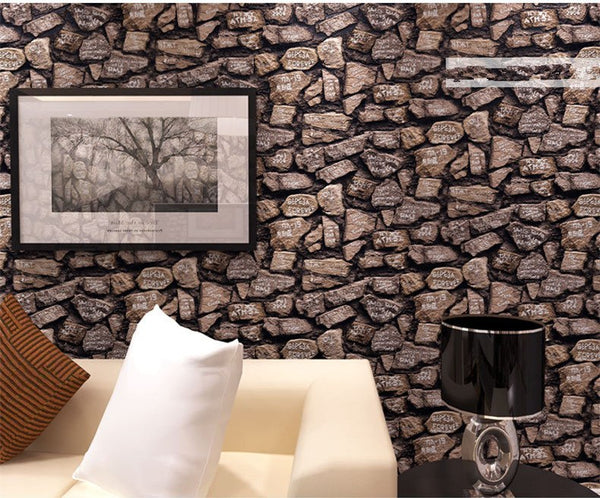 Thickened Vintage Wallpaper Roll PVC Vinyl Old Stone Wall Paper For Restaurant Cafe Decoration Wall Papel De Parede 10M
