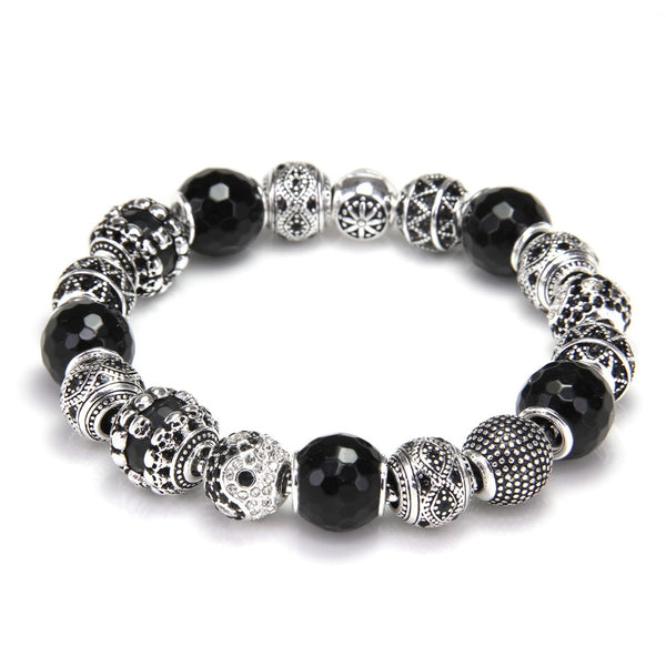 Thomas Bead Bracelet With Zigzag, Yin-yang and Fact Obsidian Beads, Rebel Heart Jewelry for Men and Women TS KB743