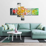 "Tooarts 63""x39"" Delicate Large Modern Flower Metal Wall Art Hand-Painted 5-Panels Wall Decoration for Kitchen Dinning Room Home"
