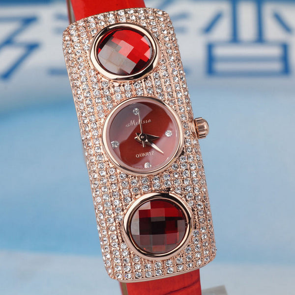 Exaggerated Sparkly Crystals Watch Real Leather