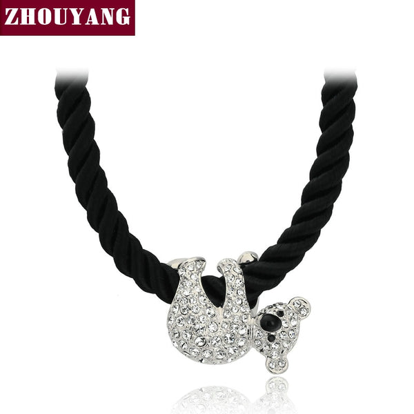 Top Quality Cute koala Rose Gold Color Pendant Necklace Jewelry Austrian Crystal Wholesale ZYN153 ZYN227