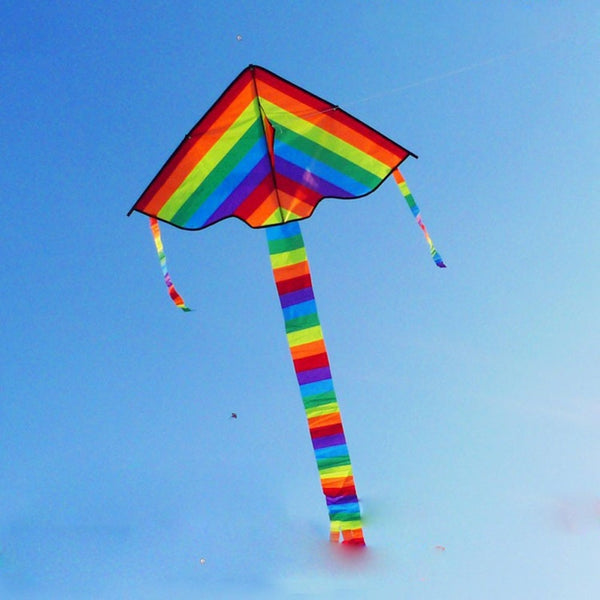 Triangle Rainbow Kite Outdoor Fun Sports without Flying Kite Line Colorful Spring Playing Toy Family Sport Kite for Adults Kids