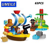 63Pcs Pirate Boat Warfare Treasure Building Block Educational Kid Toys Compatible