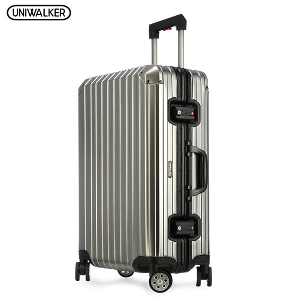 UNIWALKER 100% Aluminum Rolling Luggage Travel Trolley Hardside Fashion Luggage with Spinner Wheels TSA Lock Lightweight Rod