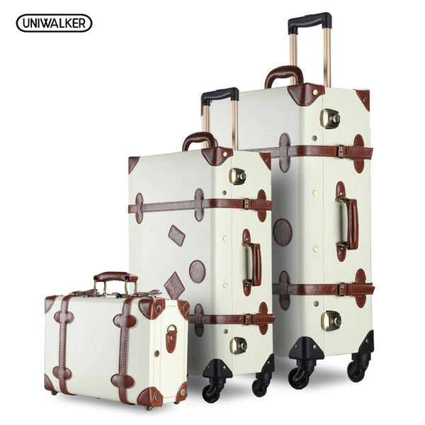 "UNIWALKER 3PCS/SET Vintage PU Travel Luggage Durable suitcase,12"" 20""26"" Retro Trolley Suitcase Bags With Spinner Wheel TSA Lock"