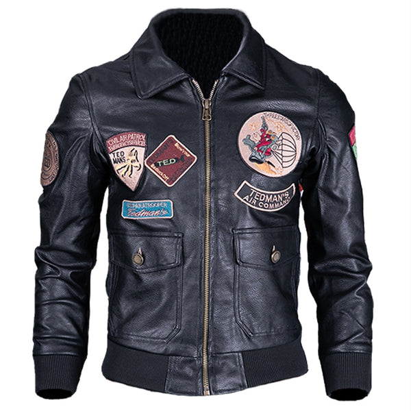 US Style Air Force Pattern Airman's Automotive Leather Jacket Coats Big and Tall Mens Plus Size 4XL Patch Men PU Coats C1669