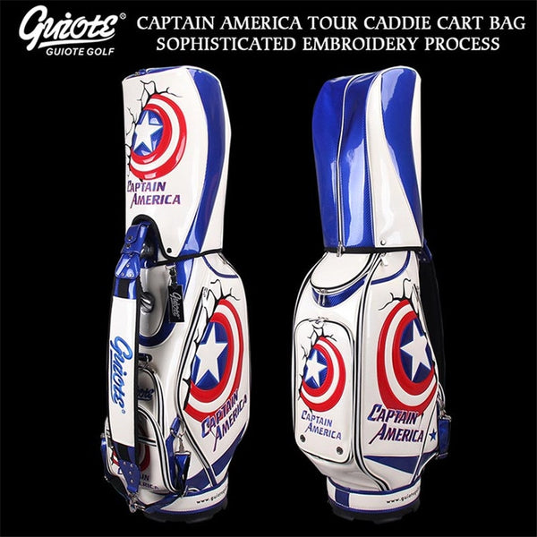 USA Captain America Golf Caddie Cart Bag PU Leather Golf Tour Staff Bag With Rainhood 5-way For Men Women