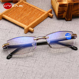 UVLAIK Ultralight Rimless Reading Glasses Women Men Clear Lens Anti-Blu-Ray Computer Glasses Presbyopia Reader Glasses