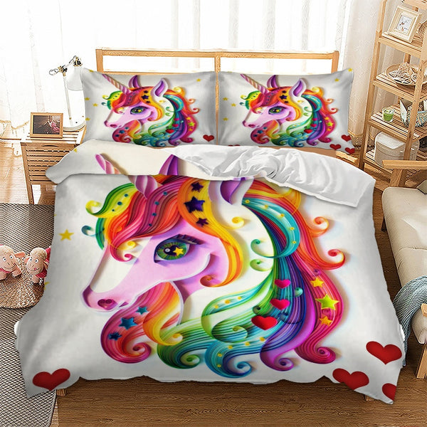 b70031ea0b3e Unicorn Bedding Set Colourful Animal Cartoon Duvet Cover Pillow Cases Twin  Full Queen King Super King