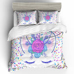 Unicorn Bedding Set Rainbow Cartoon Duvet Cover Pillow Cases Twin Full Queen King Super King Size Kids Bedclothes Bed Cover