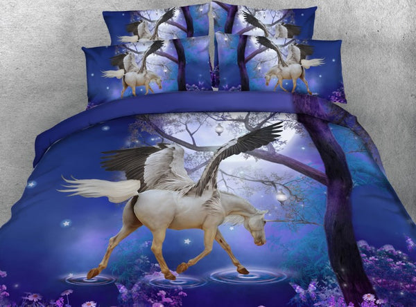 Unicorn Comforter set Bedding set Luxury 3D quilt duvet cover bed in a bag sheet sheets linen Cal King Queen size full twin 5PCS