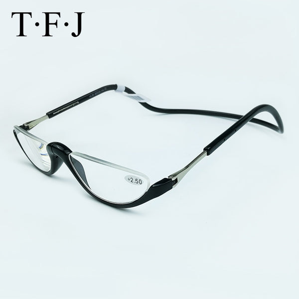 Unisex Half Rimless Magnetic Folding Readers Reading Glasses +1.0 1.5 2.0 2.5 3.0 Adjustable Neck Hang Eyeglass Plastic magnet