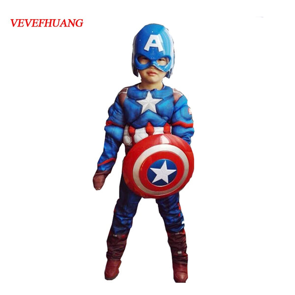 VEVEFHUANG Superhero Kids Muscle Captain America Costume Avengers Child Cosplay Super Hero Halloween Costumes For Kids Boys