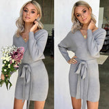 VIEUNSTA New Autumn Winter Backless Sweater Dress Women Cross Double V-neck knitted Warm Dresses Sexy Bodycon Slim Belted Dress