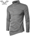 VISADA JAUNA 2018 New Men's Fashion Cotton Long Sleeved Shirt Solid Color Slim Fit Shirts Men Casual Irregular Man Dress N8931