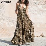 VONDA Women Sexy Leopard Dress 2020 Summer Spaghetti Strap Ruffle Swings Maxi Long Dress Plus Size Sleeveless Party Vestido 5XL