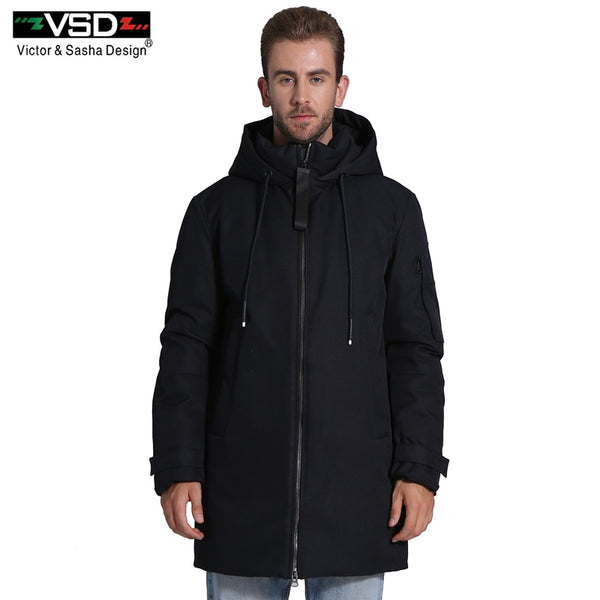 VSD 2018 New Men's Winter Thick Longer Cotton Coat Comfortable Fabric Snap Fastener Windproof Loose Style Fashion Parkas VSD768M
