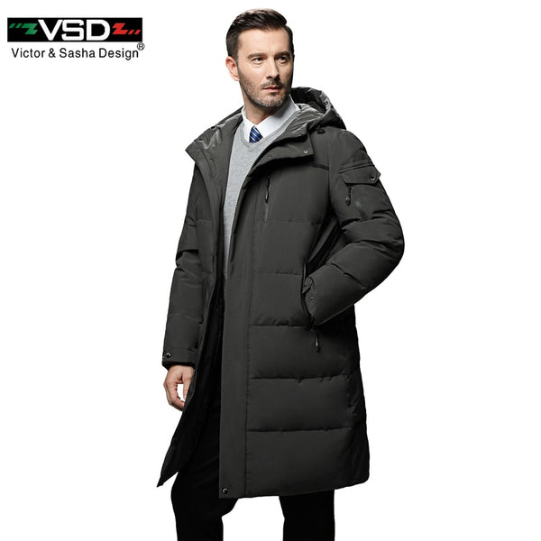 VSD Warm Winter Down Jacket Windproof Hooded Collar Men's Parka Male Big Coat Smart Casual Covered Button 5XL