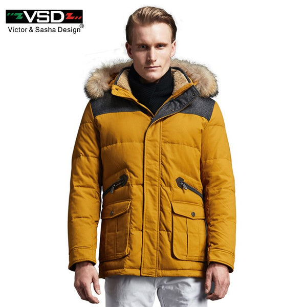 VSD Warm Winter Duck Down Jacket For Men Hooded Real Fur Collar Coat Large Russian Size Men's Thickening Clothing Parka TC8869