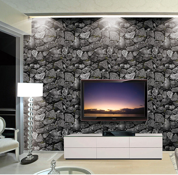 Vintage 3D Rock Stone Wallpaper Waterproof for Background Living Room PVC Wall Paper Roll Stereoscopic Look Wall Papel De Parede