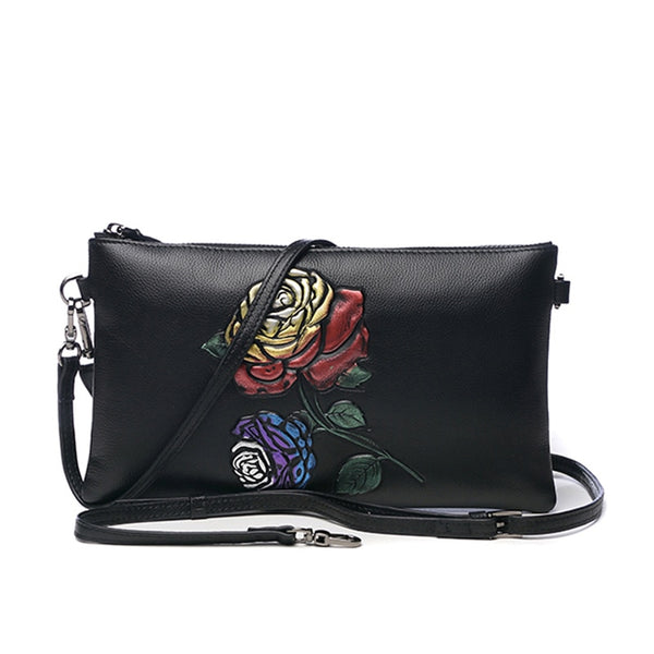 Vintage Genuine Leather Embossing Rose Clutches Wallet Women Handbag Zipper Purse Wristlet Lady Shoulder Envelope Evening Bag