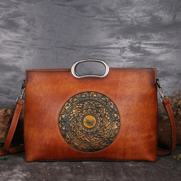 Vintage Handmade Flower Handle Handbag 3D Designer Genuine Leather Retro Women Bag real leather Large fashion Purse