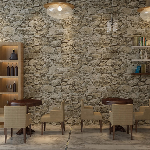 Vintage Non-woven Wallpaper Roll Old Marble Stone Wall Paper for Restaurant Cafe Decoration Wall Papel De Parede Wallcoverings