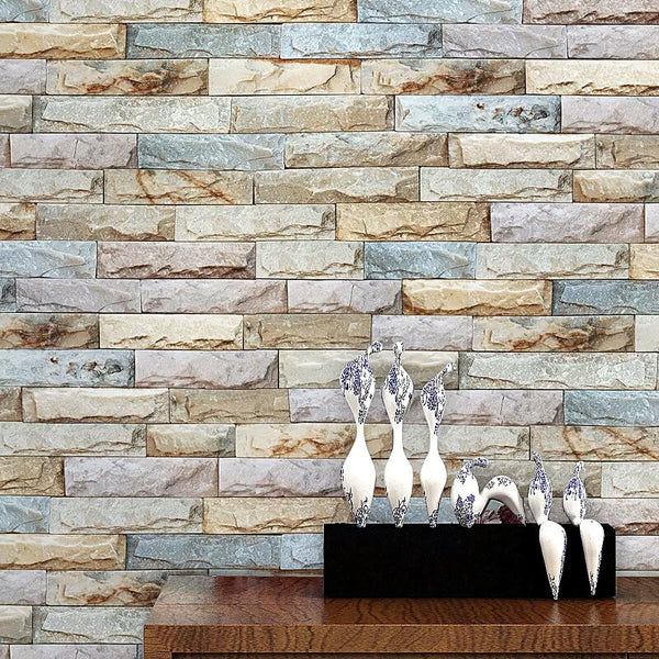 Vintage Stacked Brick 3D Stone Wallpaper Roll Brick Wall Background for Living Room Pvc Vinyl Wall Paper Stereoscopic Look
