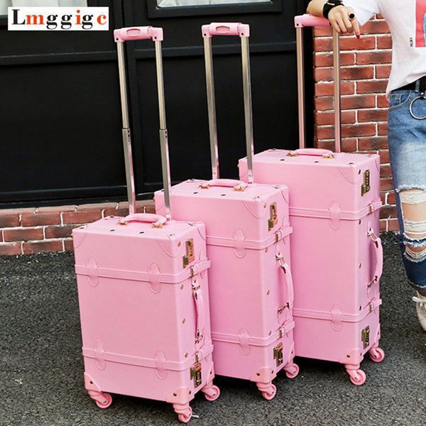 Vintage Travel Rolling Luggage Suitcase Bag ,PU Leather Box with Cosmetic bag ,Women Carrier,high qualit Carry-On Trolley Case