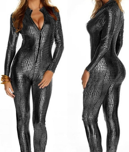 Vinyl Snakeskin Bodysuits Faux Latex Catsuit Pole Dance Stripper Clothes Erotic Fantasy Fetish Bondage Dress Sexy Costumes