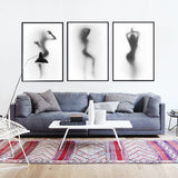 Sexy Silhouette of a Dancing Woman Behind a Curtain Canvas Posters Print Wall Nordic Style