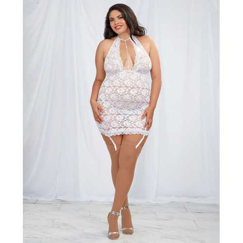 Stretch Lace Halter Chemise w/Removable & Adjustable Garters& G-String White QN