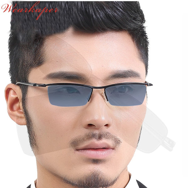 WEARKAPER Photochromic Reading Glasses Men Half Rim Titanium alloy Presbyopia Eyeglasses sunglasses discoloration with diopters