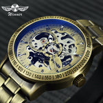 WINNER 2019 Fashion Militray Watch Men Auto Mechanical Skeleton Dial Copper Stainless Steel Strap Mens Watches Top Brand Luxury