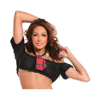 Off the Shoulder Mini Scrunch Top Black O/S