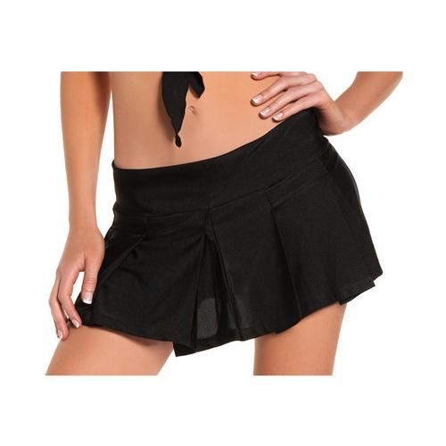 Solid Color Pleated School Girl Skirt Black M/L