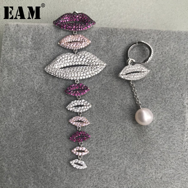 WKOUD EAM Jewelry / 2019 Fashion S925 Sterling Silver Multicolor Lips With Freshwater Pearl Earrings Women's Accessories S#R1539