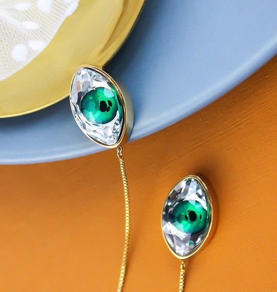 WKOUD EAM Jewelry / 2019 New Fashion Single Copper irregular Glass Crystal Green drop Earring Line Women's Accessories S#R71808
