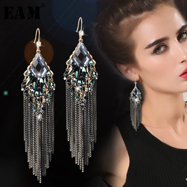WKOUD EAM Jewelry / 2019 New Fashion Temperament Black long zircon inlaid tassel earrings Women's Accessories S#R120301