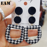 WKOUD EAM Jewelry / 2019 New Fashion Temperament Black vintage houndstooth round earrings Women's Accessories S#R165801