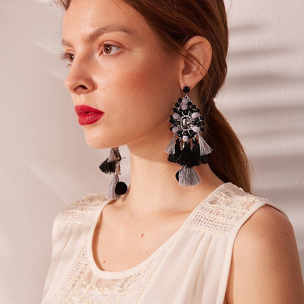 WKOUD EAM Jewelry / 2019 New Fashion Temperament Color Long Beaded Tassel Drop Earrings Women's Accessories S#R113001