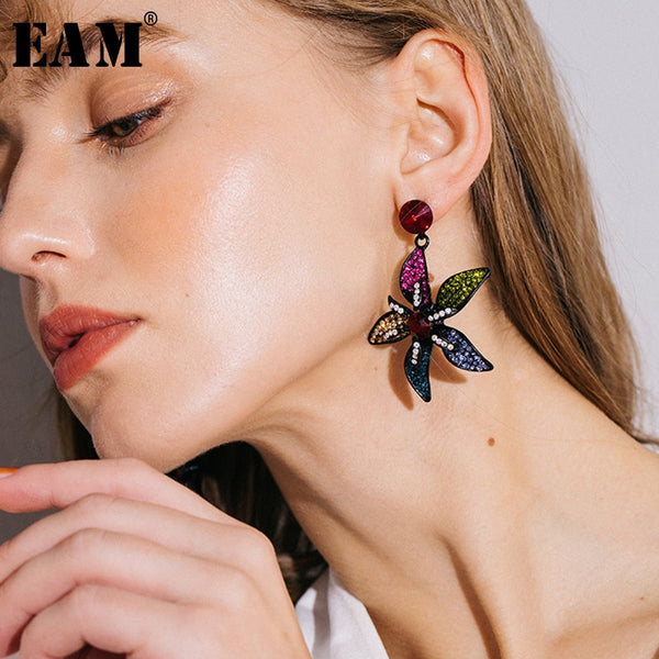 WKOUD EAM Jewelry / 2019 New Fashion Temperament Colorful Zircon Inlaid Flower Pendant Earrings Women's Accessories S#R172609