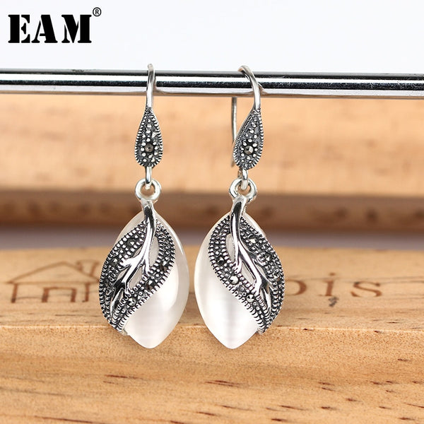 WKOUD EAM Jewelry / 2019 New Fashion Temperament Green S925 Leaf Stitching  Earrings Women's Accessories S#R127500