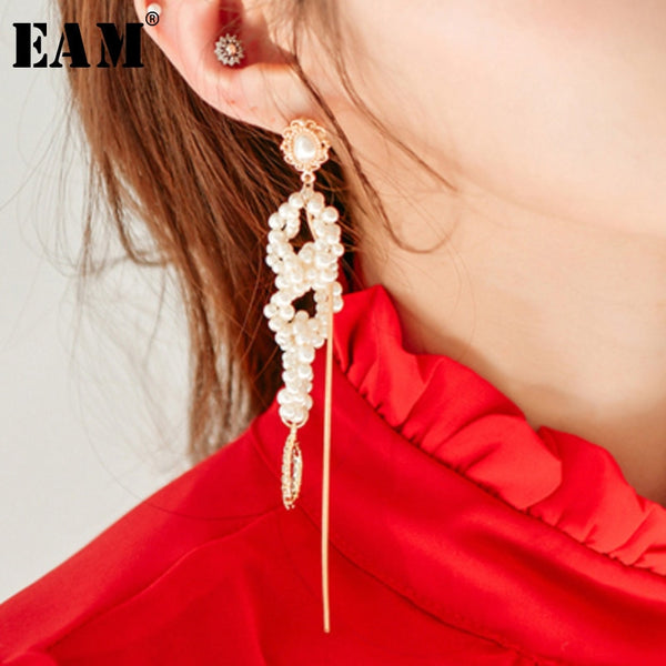 WKOUD EAM Jewelry / 2019 New Fashion Temperament Irregular Imitation Pearl Pendant Tassel Earrings Women's Accessories S#R1741