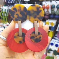 WKOUD EAM Jewelry / 2019 New Fashion Temperament Leopard Print Round Acrylic Earrings Women's Accessories S#R109905
