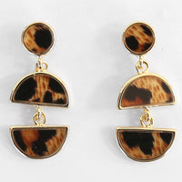 WKOUD EAM Jewelry / 2019 New Fashion Temperament Long Geometric Leopard Semi-circular Stitching Earrings Women's Accessories